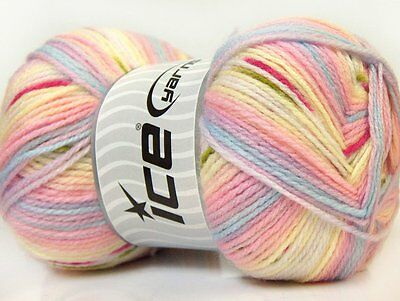 Lot of 4 x 100gr Skeins Ice Yarns BABY DESIGN Wool Lilac Yellow Blue Pink