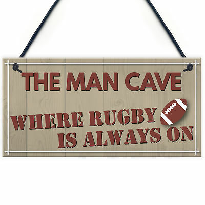 Man Cave Rugby Husband Home Bar Pub Sports Shed Hanging Plaque Door Gift Sign