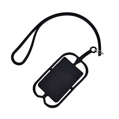 Cell Phone Silicone Wallet Case Credit ID Card Bag Holder Pocket with Lanyard