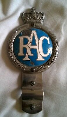 1960's CHROME AND ENAMEL RAC BADGE WITH BRACKET.