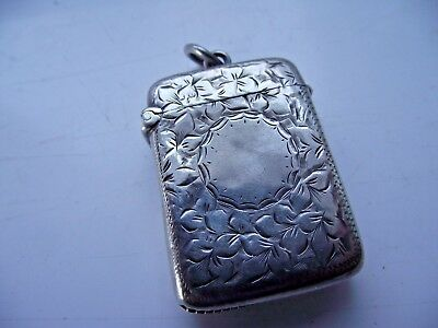 Victorian Chester 1897 Sterling Silver Hallmarked Vesta Match Holder Striker