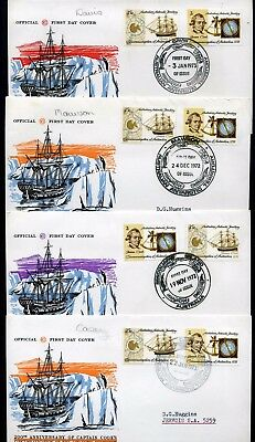 AAT 1972 Cook pair - set of 4 x Base FDCs
