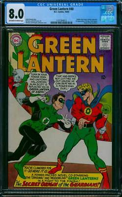 Green Lantern # 40  Secret Origin of the Guardians !   CGC 8.0 scarce book !