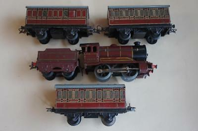 O gauge Hornby LMS tender loco No.5600 & 3 x matching coaches