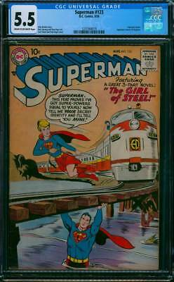 Superman # 123  The Girl of Steel ;  Supergirl Tryout !   CGC 5.5 scarce book !