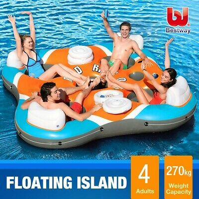 Bestway Rapid Rider 4-Person Inflatable Floating Island Drinks Coolers Backrests