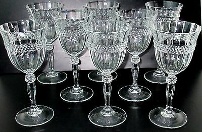 8 Vintage Crystal Cris d'Arques Durand ANNECY WATER GOBLETS Diamond Band Paneled