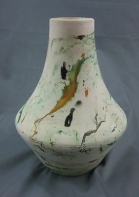 Nemadji USA Art Pottery GREEN BROWN ORANGE BLACK Shuttle Vase POT Vessel