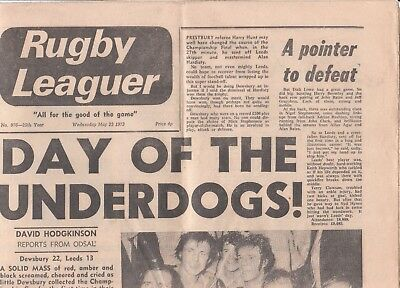 Rugby Leaguer . May 23 1973. Dewsbury Champions.