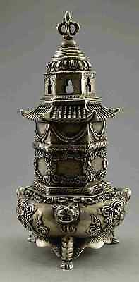 Collectible Decorated Old Handwork Tibet Silver Tower Dragon High Incense Burner