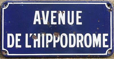 French enamel steel street sign plaque plate road Hippodrome racecourse Cabourg