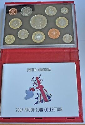 UK PROOF 12 COIN DELUXE YEAR SET 2007, CROWN T0 1p WITH COA, IN RED LEATHER CASE