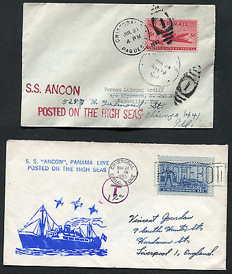 CANAL ZONE; (15179)  S.S. ANCON cancel/paquebot covers