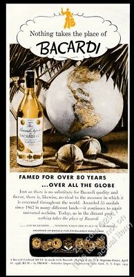 1943 Bacardi rum bottle maracas and globe photo vintage print ad