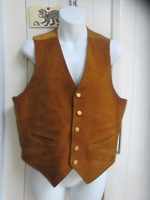 """Vintage tan suede waistcoat with silky back - chest 36"""""""