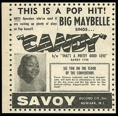 1956 Big Maybelle photo Candy record release vintage trade print ad