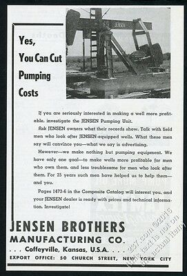 1945 Jensen pumpjack pump jack oil well pumper photo vintage print ad
