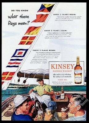 1946 Kinsey Whiskey yacht yachting flags art vintage print ad