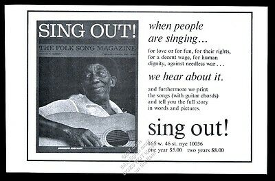 1967 Mississippi John Hurt photo Sing Out vintage print ad