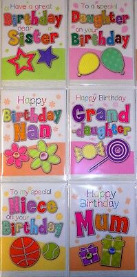 96 SUPERB 'STITCHES' FEMALE RELATIONS CARDS  25p,TEXTURED- WRAPPED-8 DESIGNS x12
