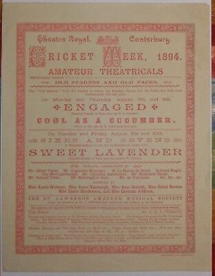 Kent - Canterbury Cricket Week Poster 1894- Old Stagers