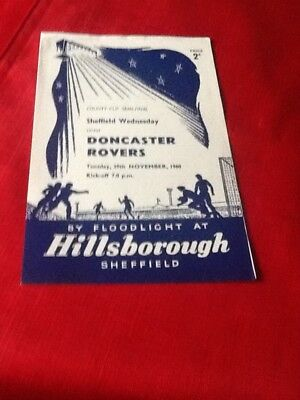 SHEFFIELD WEDNESDAY v DONCASTER ROVERS. 1960-1961 COUNTY CUP SEMI FINAL