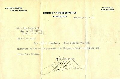 Wisconsin Representative JAMES A. FREAR Signed Letter - 1922