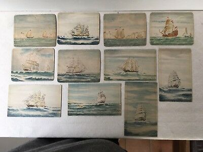 Naive hand painted clipper ship postcards. Signed watercolours 1945