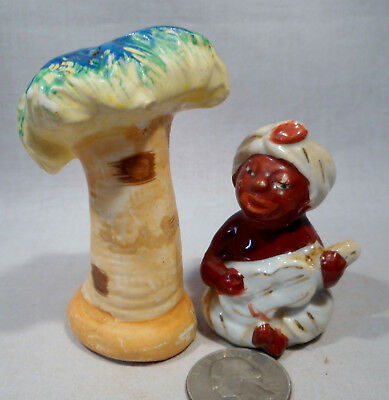 Vintage Native Playing Banjo Sitting Under Palm Tree S&P Shakers