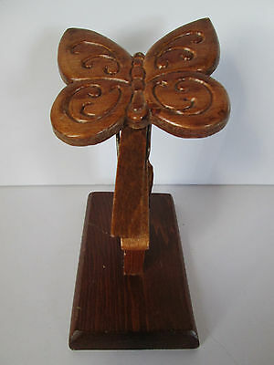 Wood Butterfly On Clothespin Paper Clip Holder