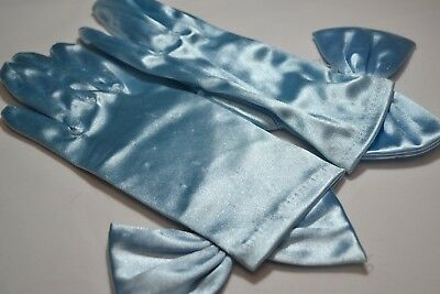 Women's Baby Blue Wrist Length Gloves with Bow Shiny Stretch Satin Formal Tea