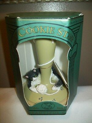 Brown Bag Cookie Art Stamp Press Mold 1995 Contented Cat & Mouse #9 with Recipe