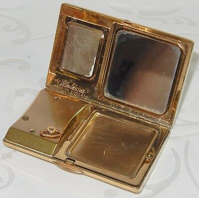 VINTAGE LADIES POWDER MIRROR COMPACT By MELISSA - MUSICAL & MOTHER OF PEARL