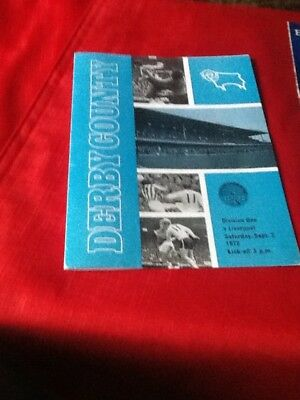 Derby County V Liverpool. 1972-1973  Rare 4 Page Issue