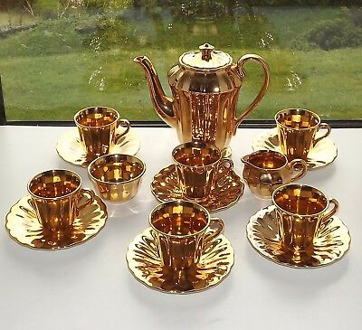 Wade Royal Victoria Gold Lustre Coffee Set 15 Pieces Coffee Pot Cups Saucers