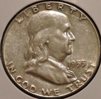 Franklin Half Dollar - 1955 - Historic Silver! - $1 Unlimited Shipping