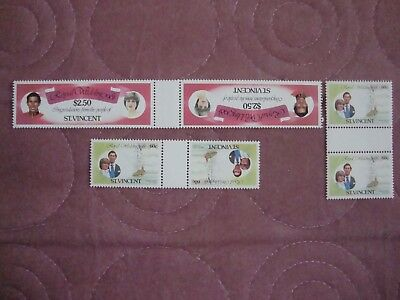 Royal Wedding 1981 Charles & Diana St Vincent booklet stamps in gutter pairs