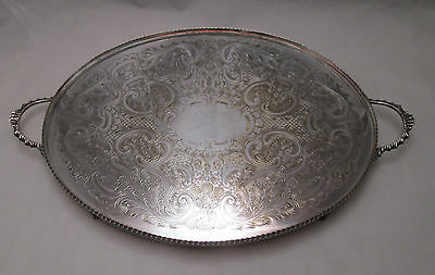 A Large Silver Plated Oval Tray - Engraved - Lion Feet