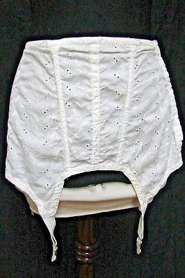 1950s 60s Vintage WHITE EMBROIDERED EYELET COTTON GARTER BELT