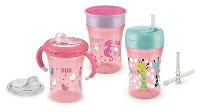 NUK 10225165 Trinklern Set Girl, Geschenkbox mit Starter Cup, Magic Cup, Fun Cup