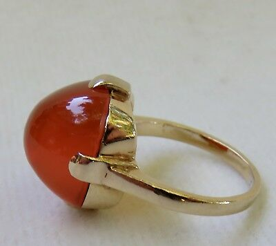 Antique 19Thc. Victorian 18K Gold Cushion Cut Carnelian Cabochon Ring