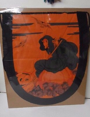 FABULOUS 1930's Halloween Crepe Apron - Very Unusual Witch
