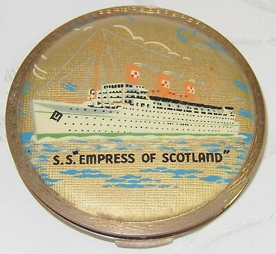 VINTAGE SS EMPRESS OF SCOTLAND SHIP LADIES MIRROR POWDER COMPACT By STRATTON