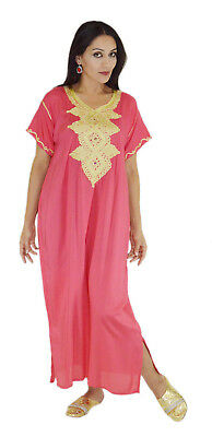 Moroccan Women Caftan Kaftan Long Dress Casual  Abaya Cotton Fits Sm to LG Pink