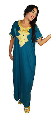 Moroccan Women Caftan Kaftan Long Dress Casual  Abaya Cotton Fits Sm to LG Teal