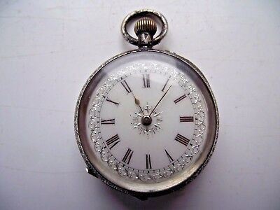 Antique Pocket Watch Continental 0.935 Fine Silver Stunning Dial Nearly Running