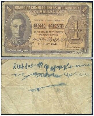 1941 (1945) Malaya : 1 Cent : King George Vi