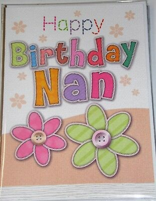 STUNNING NAN BIRTHDAY CARDS x 12, JUST 27p,  'STITCHES' TEXTURED WRAPPED