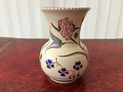 vintage / retro honiton pottery hand painted art vase seaton pattern
