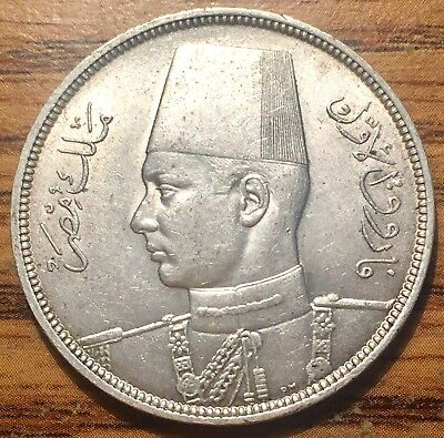 AH 1356 // 1937 Silver Egypt 10 Piastres King Farouk Coin - Uncirculated